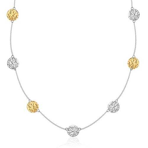 14k Yellow Gold & Sterling Silver 32'' Reticulated Disc Station Necklace, size 32''