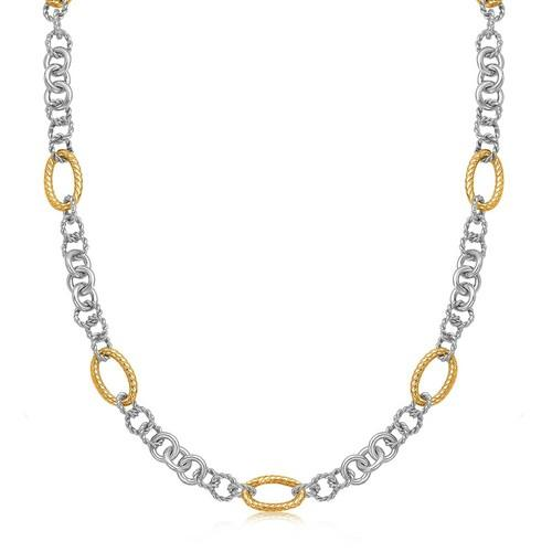 18k Yellow Gold and Sterling Silver Rhodium Plated Multi Style Chain Necklace, size 18''