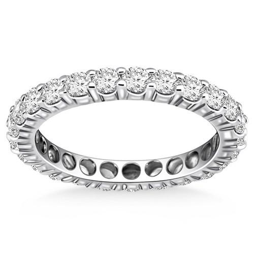 14K White Gold Ageless Round Cut Diamond Eternity Ring, size 4