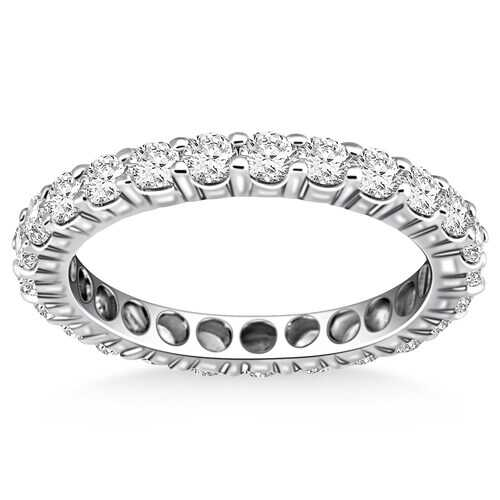14k White Gold Ageless Round Cut Diamond Eternity Ring, size 8