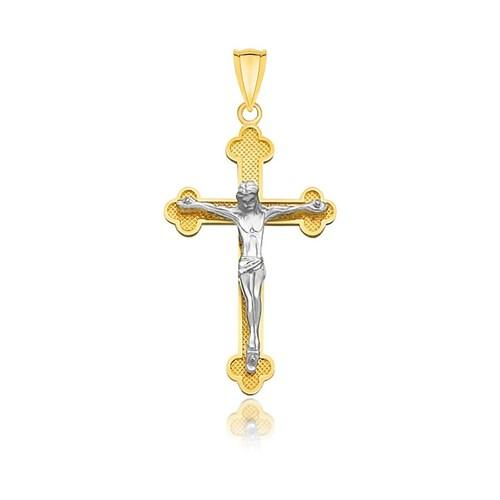 14k Two-Tone Gold Budded Crucifix with Figure Pendant