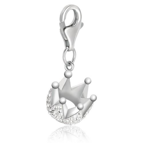 Sterling Silver Crown Charm with White Tone Crystal Embellishments