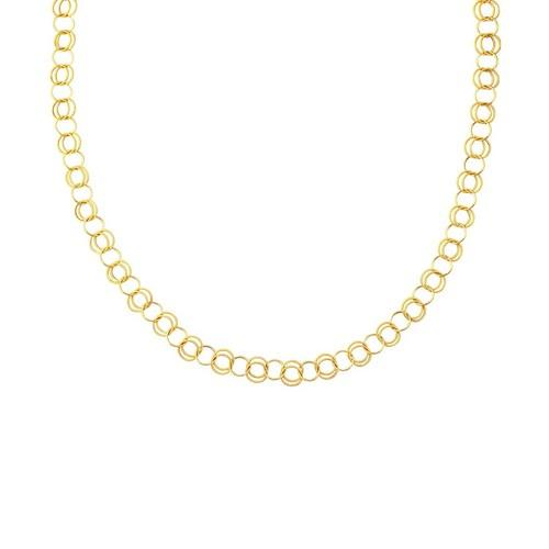 14k Yellow Gold Polished and Dual Textured Round Link Necklace, size 38''
