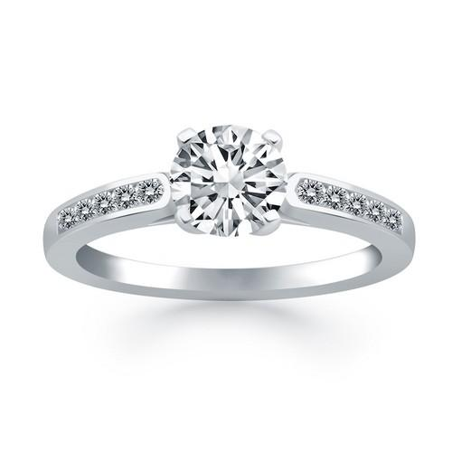 14k White Gold Diamond Channel Cathedral Engagement Ring, size 5