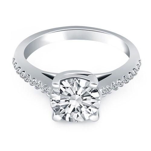14K White Gold Trellis Diamond Engagement Ring, size 5.5