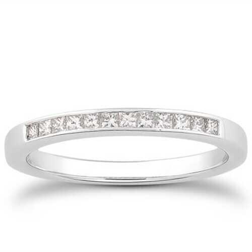 14k White Gold Channel Set Princess Diamond Wedding Ring Band, size 6.5