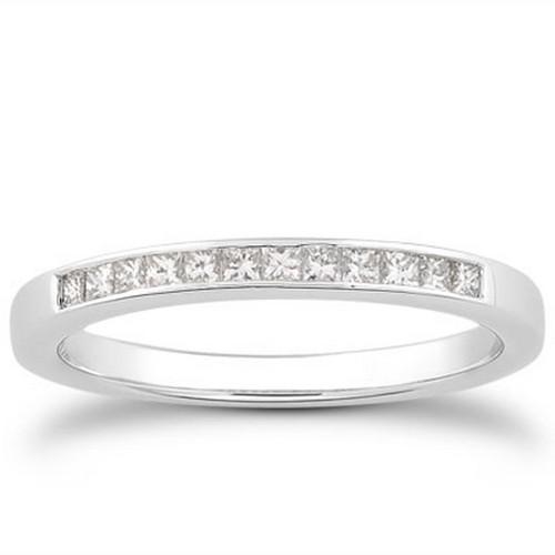 14k White Gold Channel Set Princess Diamond Wedding Ring Band, size 7.5