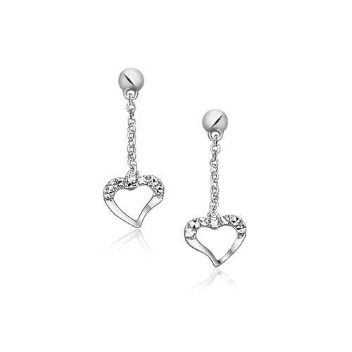 14k White Gold Sparkle Texture Heart Dangle Earrings