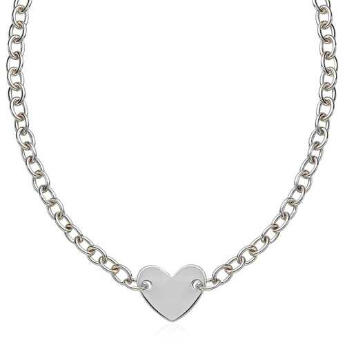 Sterling Silver Rhodium Plated Chain Bracelet with a Flat Heart Motif Station, size 18''