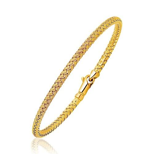 Fancy Weave Bangle in 14k Yellow Gold (3.0mm), size 7.25''