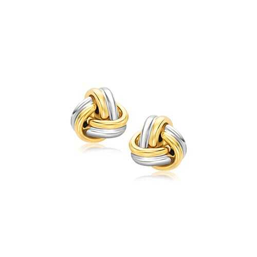 14k Two-Tone Gold Polished Love Knot Stud Earrings