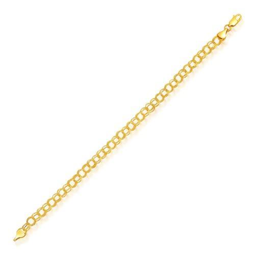 5.0 mm 14k Yellow Gold Lite Charm Bracelet, size 7.25''