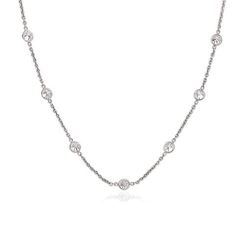 14k White Gold CZ By the Yard Long Links, size 16''