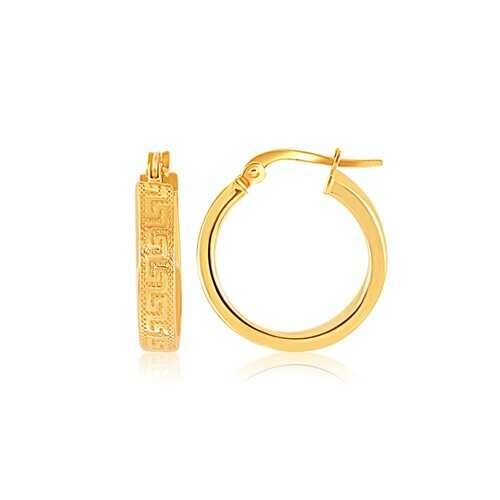 14k Yellow Gold Greek Key Small Hoop Earrings