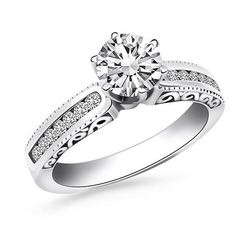 14k White Gold Channel Set Engagement Ring with Engraved Sides, size 6