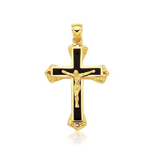 14K Yellow Gold Black Onyx Cross Pendant