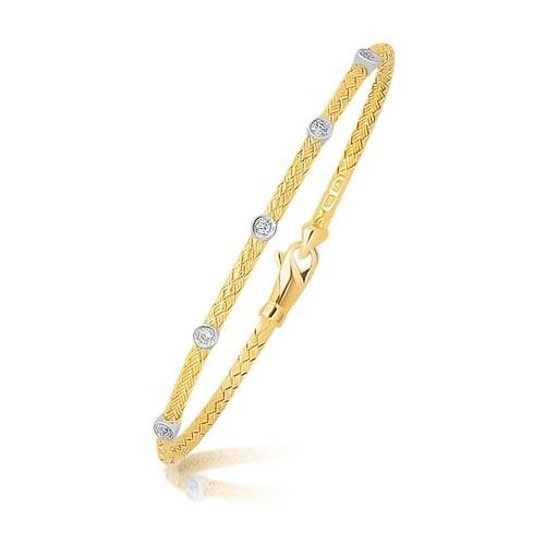 14K Two Tone Gold Diamond Accent Station Basket Weave Bracelet, size 7.25''