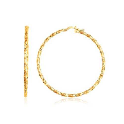 14k Yellow Gold Patterned Hoop Earrings with Twist Design