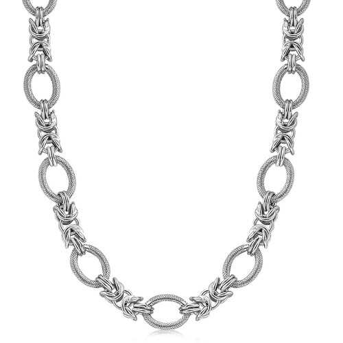Sterling Silver  Rhodium Plated Knot Style and Textured Oval Chain Necklace, size 18''