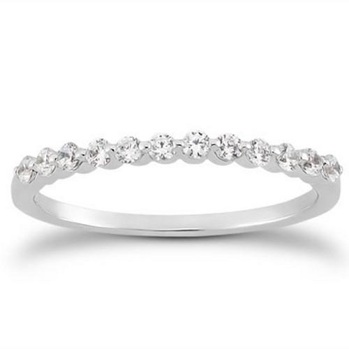 14K White Gold Floating Diamond Single Shared Prong Wedding Ring Band