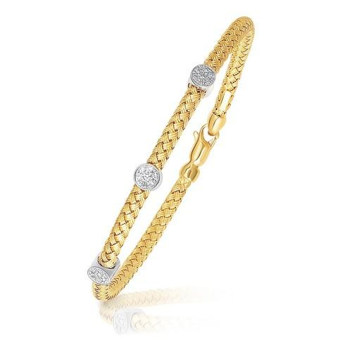 14k Two-Tone Gold Diamond Accent Station Basket Weave Bracelet, size 7.25''
