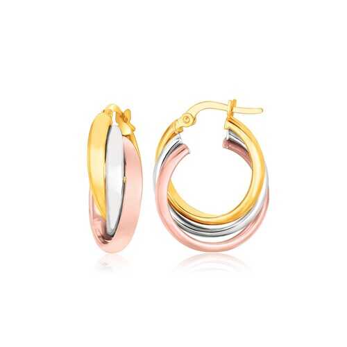 14K Tri-Color Gold Domed Tube Intertwined Earrings