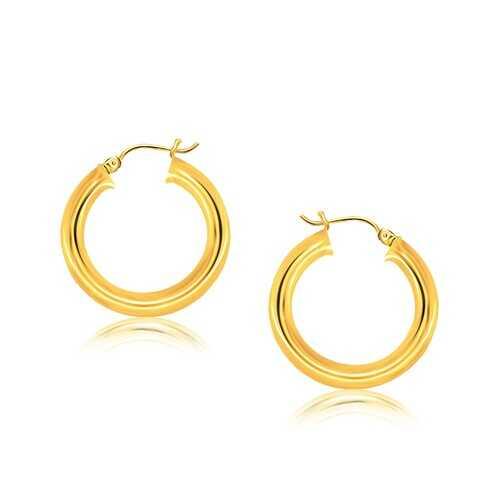 14k Yellow Gold Polished Hoop Earrings (30 mm)