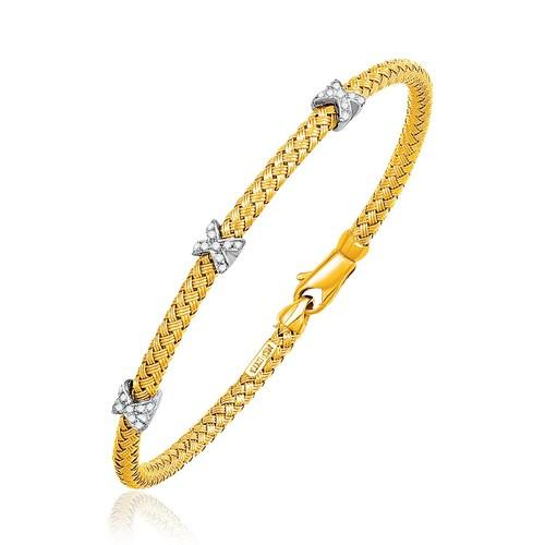 Basket Weave Bangle with Cross Diamond Accents in 14k Yellow Gold (4.0mm), size 7.25''