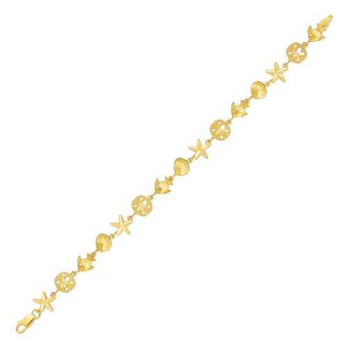 14k Yellow Gold Sea Life Bracelet, size 7''