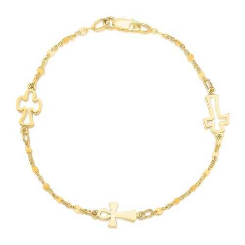 14k Yellow Gold Symbolic Cross Bracelet, size 7''