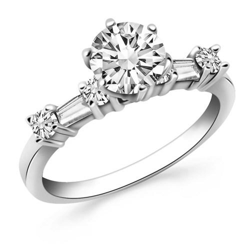 14k White Gold Engagement Ring with Round and Baguette Diamonds, size 4