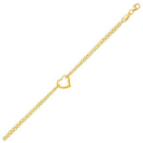 14K Yellow Gold Double Rolo Chain Anklet with an Open Heart Station, size 10''