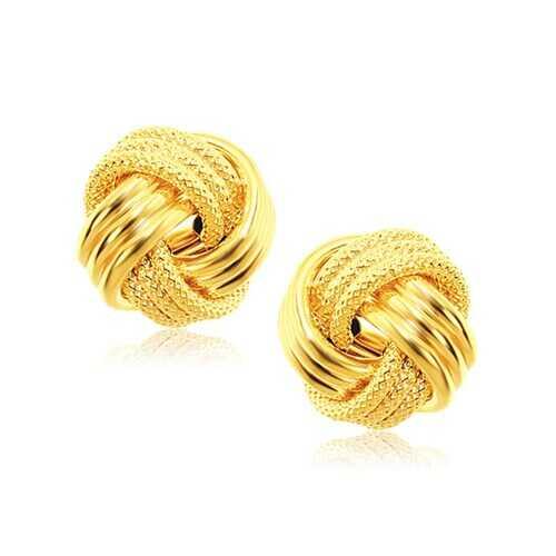 14k Yellow Gold interweaved Love Knot Stud Earrings
