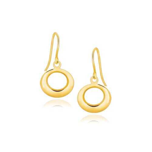 14k Yellow Gold Open Circle Dangle Earrings