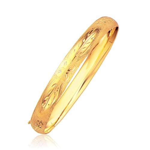 Classic Floral Carved Bangle in 14k Yellow Gold (8.0mm), size 8''