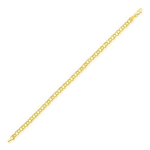 4.0 mm 14k Yellow Gold Lite Charm Bracelet, size 7.25''