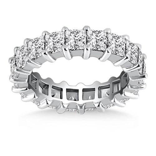 14K White Gold Common Prong Princess Cut Diamond Eternity Ring, size 8