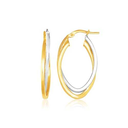 14K Two Tone Gold Double Oval Hoop Earrings