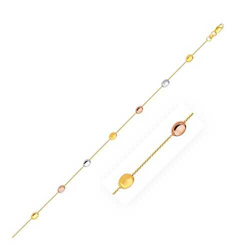 14k Tri-Color Gold Puffed Oval Shape Station Adjustable Anklet, size 10''