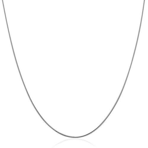 Sterling Silver Round Omega Style Chain Necklace with Rhodium Plating (1.25mm), size 18''