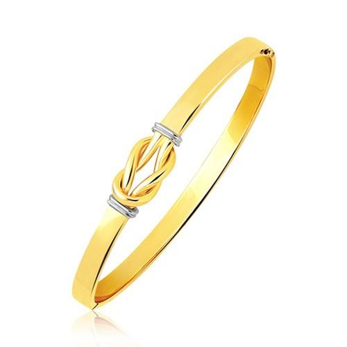 Intertwined Knot Slip On Bangle in 14k Two-Tone Gold (5.0mm), size 7''
