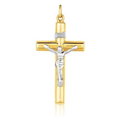 14k Two Tone Gold Cross Pendant