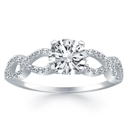 14K White Gold Double Infinity Diamond Engagement Ring, size 9