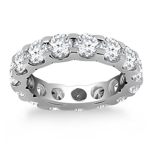 14k White Gold Round Diamond Studded Eternity Ring, size 6