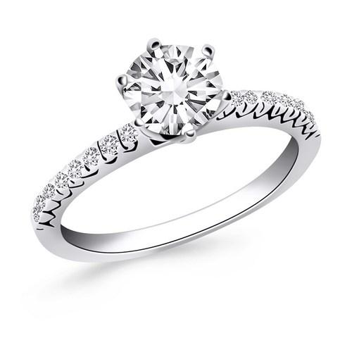 14k White Gold Engagement Ring with Fishtail Diamond Accents, size 7.5