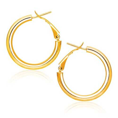 14k Yellow Gold High Polish  Hoop Earrings (0.78 inch Diameter)