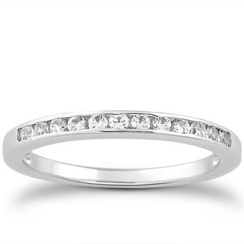 14K White Gold Channel Set Diamond Wedding Ring Band Set 1/3 Around