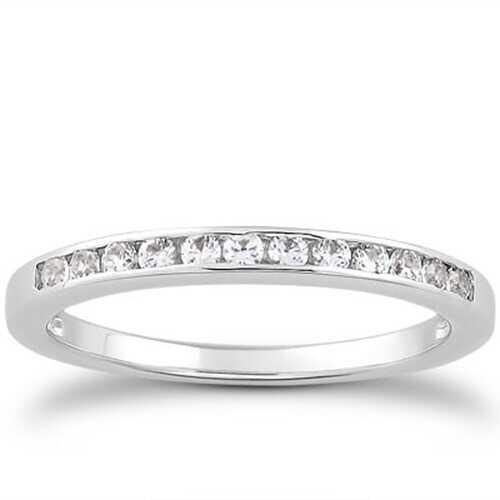 14k White Gold Channel Set Diamond Wedding Ring Band Set 1/3 Around, size 8