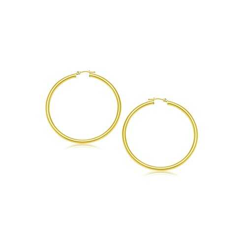 14k Yellow Gold Polished Hoop Earrings (2- mm)