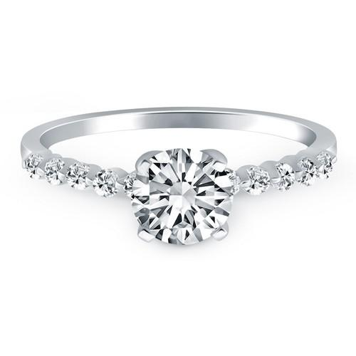 14k White Gold Diamond Engagement Ring with Shared Prong Diamond Accents, size 8
